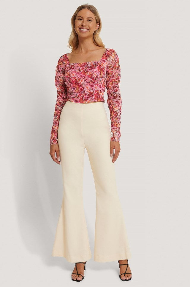 Square Neck Chiffon Top Outfit