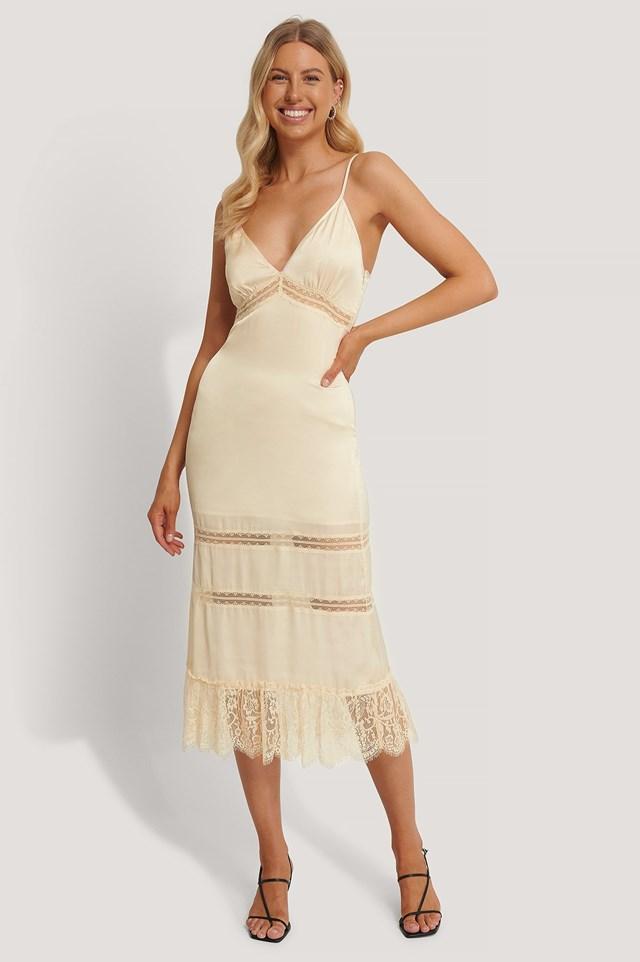 Lace Blocking Midi Dress Outfit