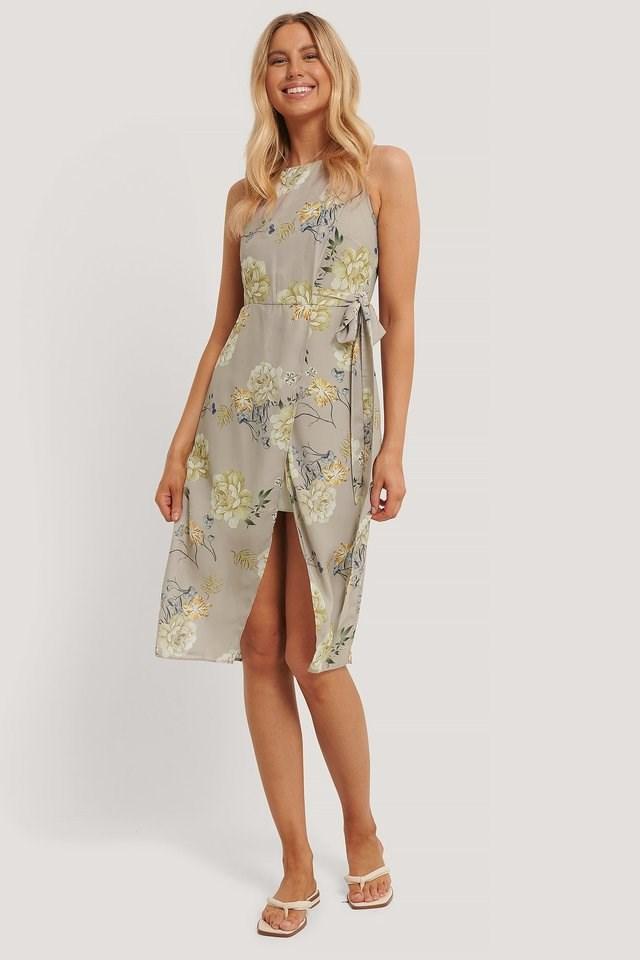 Tie Waist Overlap Dress