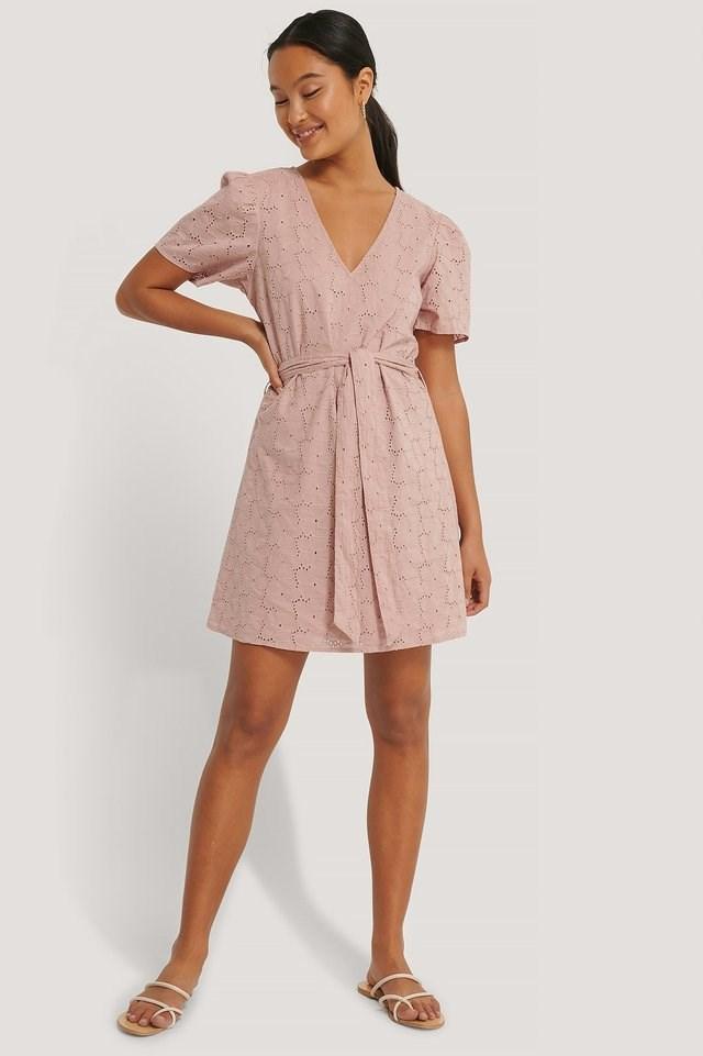 V-Neck Tie Waist Anglaise Dress