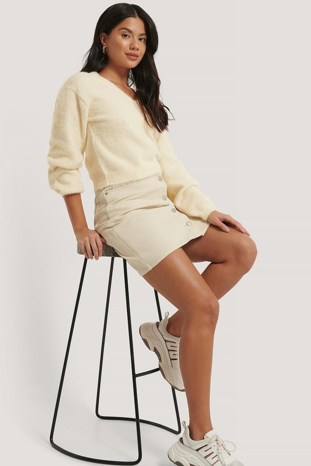 Feather Yarn Knitted Sweater Outfit