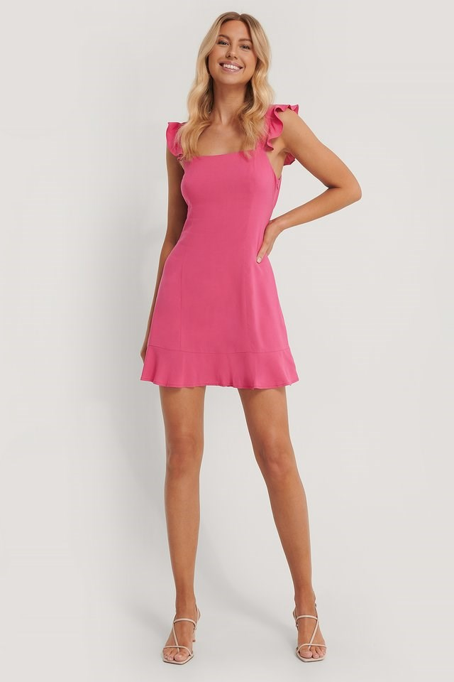 Frill Detail Mini Dress Outfit
