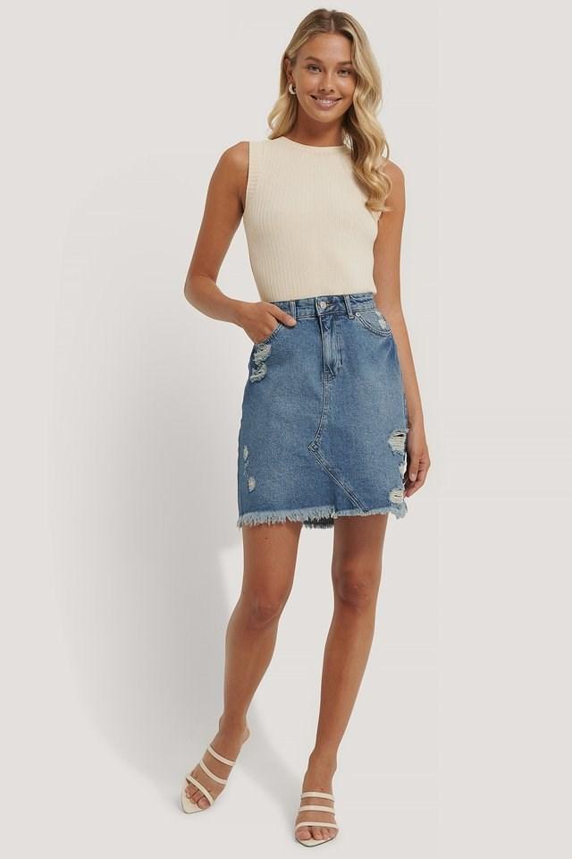 Destroyed Detail Denim Skirt