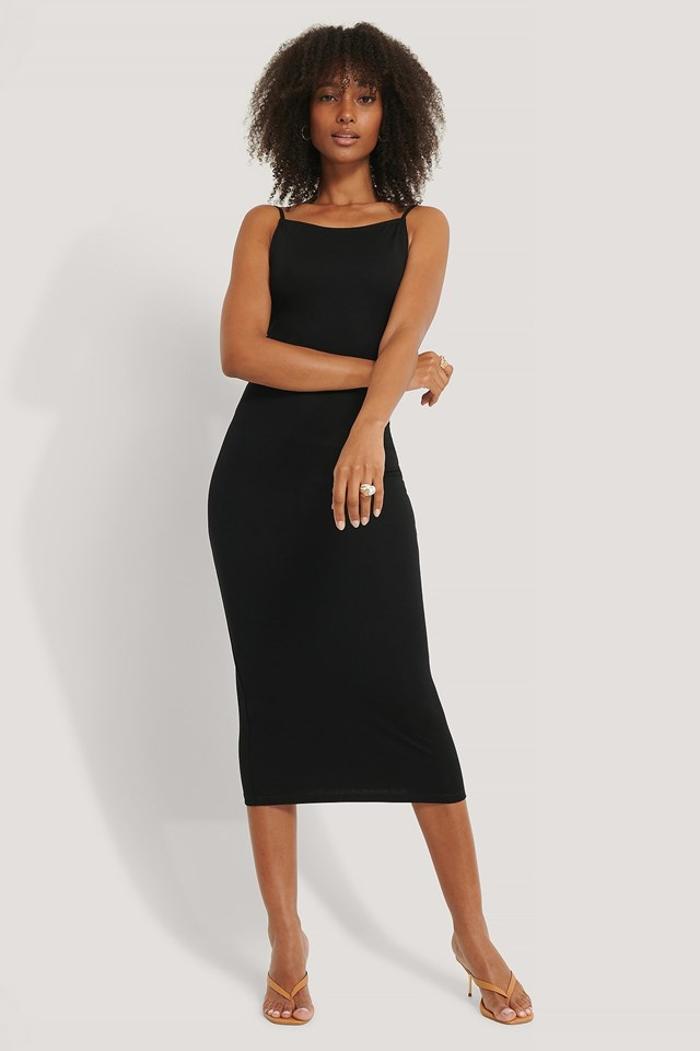 Thin Strap Midi Dress Outfit