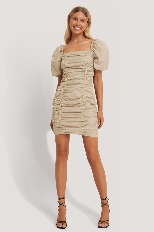 Puff Sleeve Gathered Mini Dress Outfit