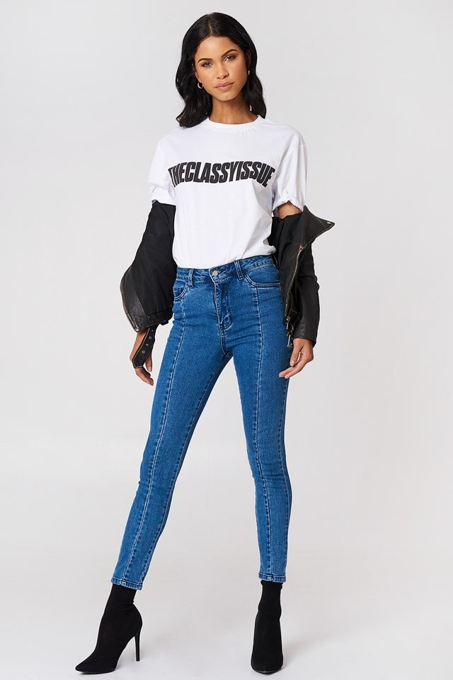 High Rise Panel Jeans Outfit