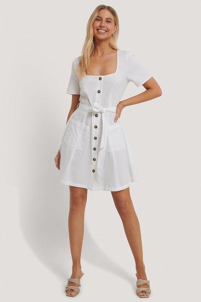 Square Neck Linen Look Dress