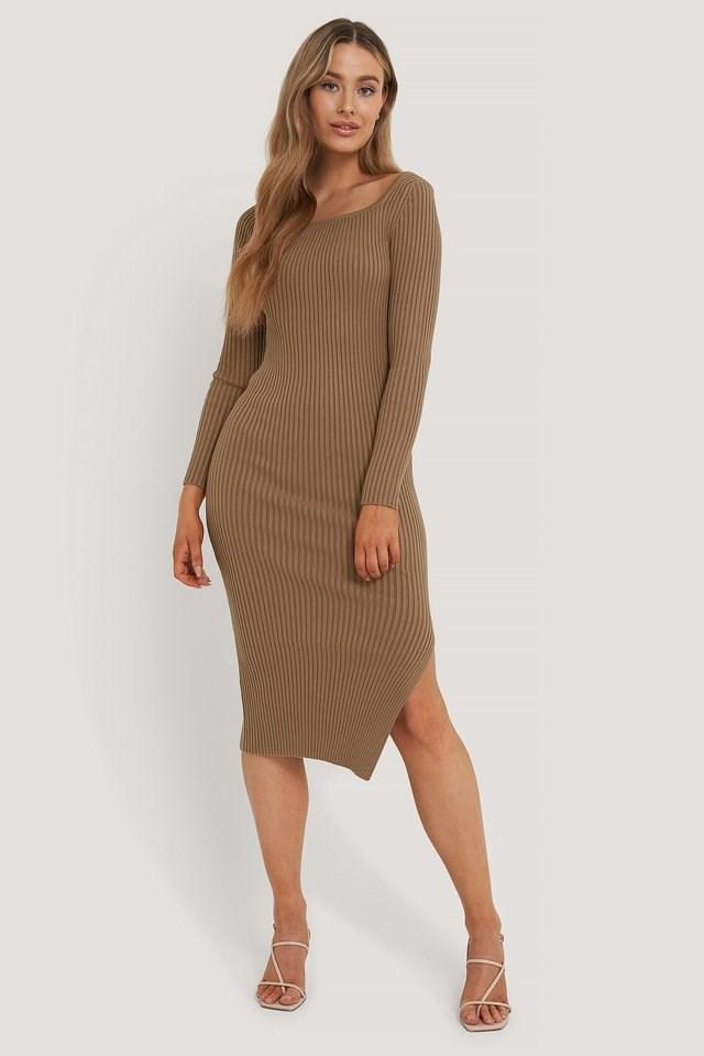 Square Neck Side Slit Midi Dress