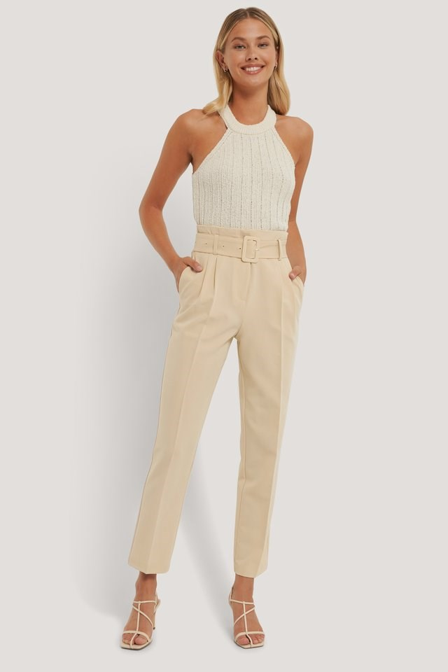 Ribbed Knitted High Neck Singlet