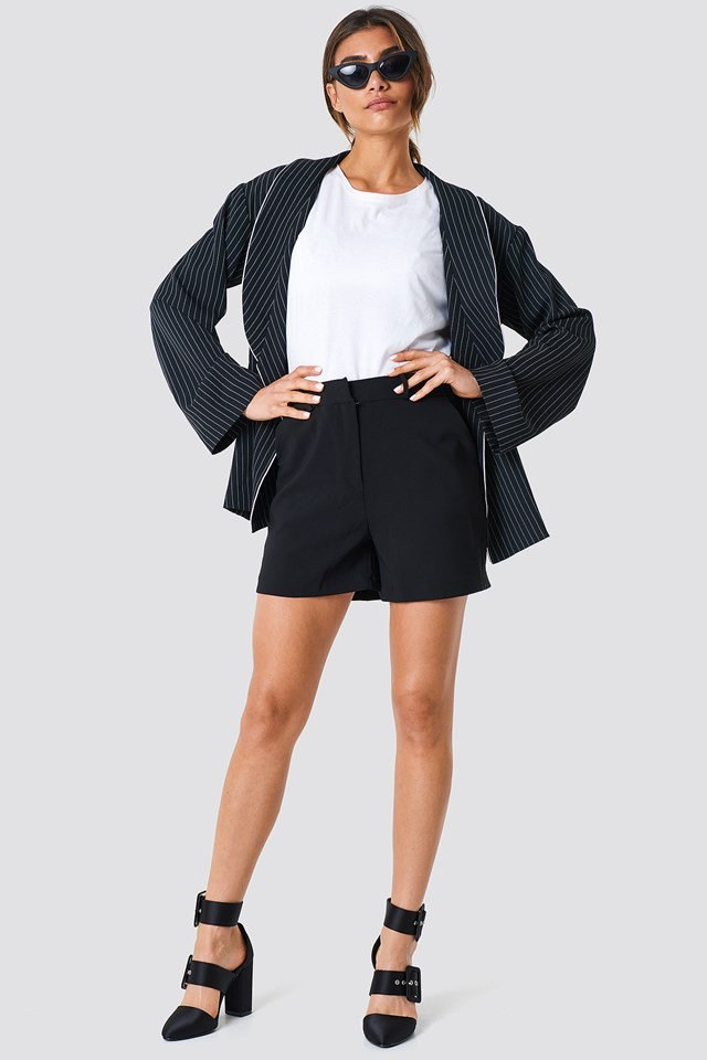 High Rise Mini Shorts with Basic Tee and Blazer