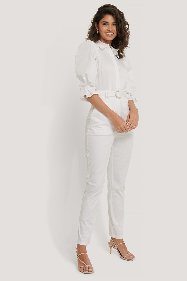 Puff Arms Belted Jumpsuit Outfit