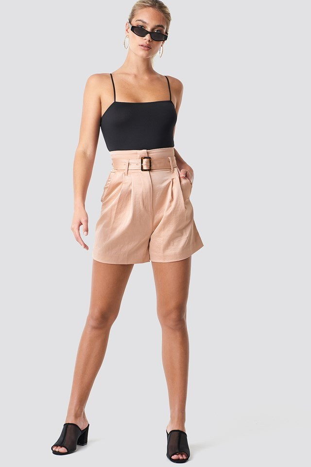 High Waist Belted Shorts with Singlet