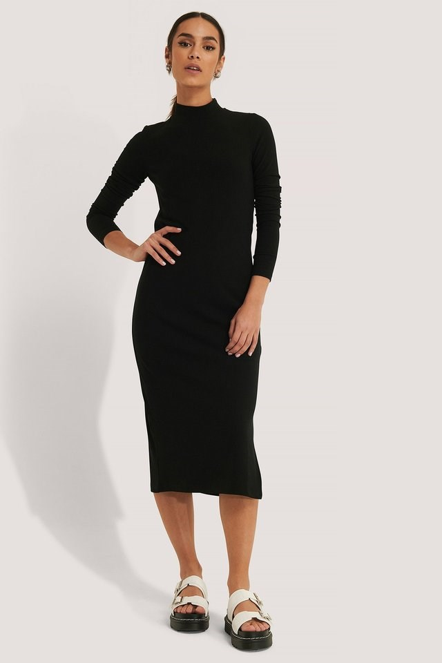 Highneck Ribbed Basic Longsleeve Dress