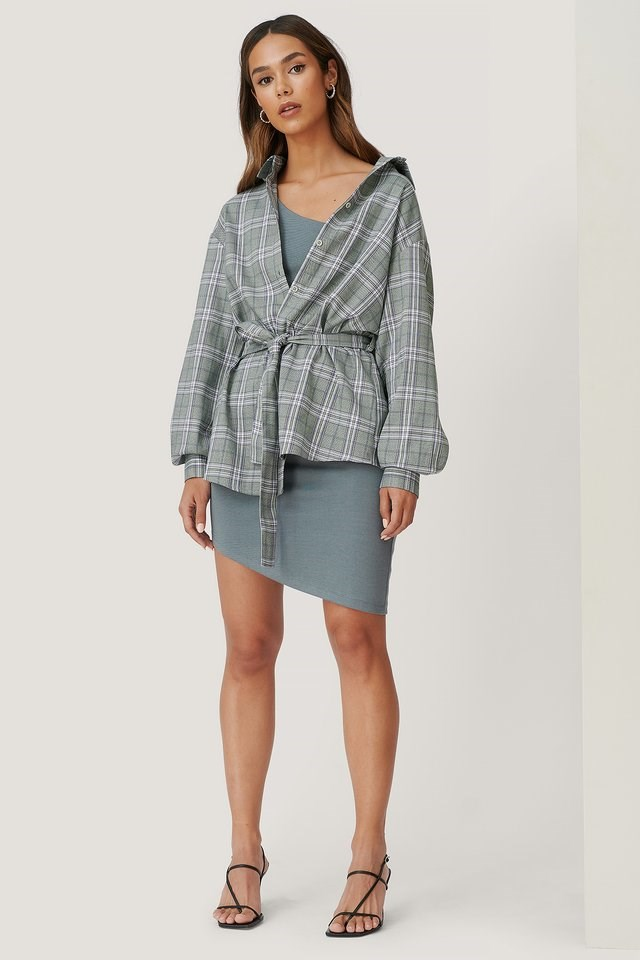 Checked Belted Shirt