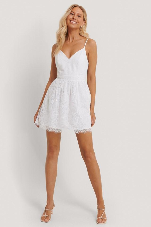Thin Strap Lace Mini Dress