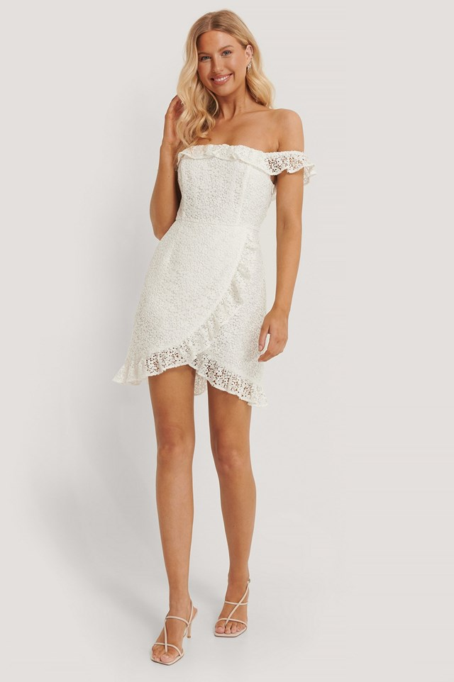 White Recycled Off Shoulder Overlapped Lace Dress