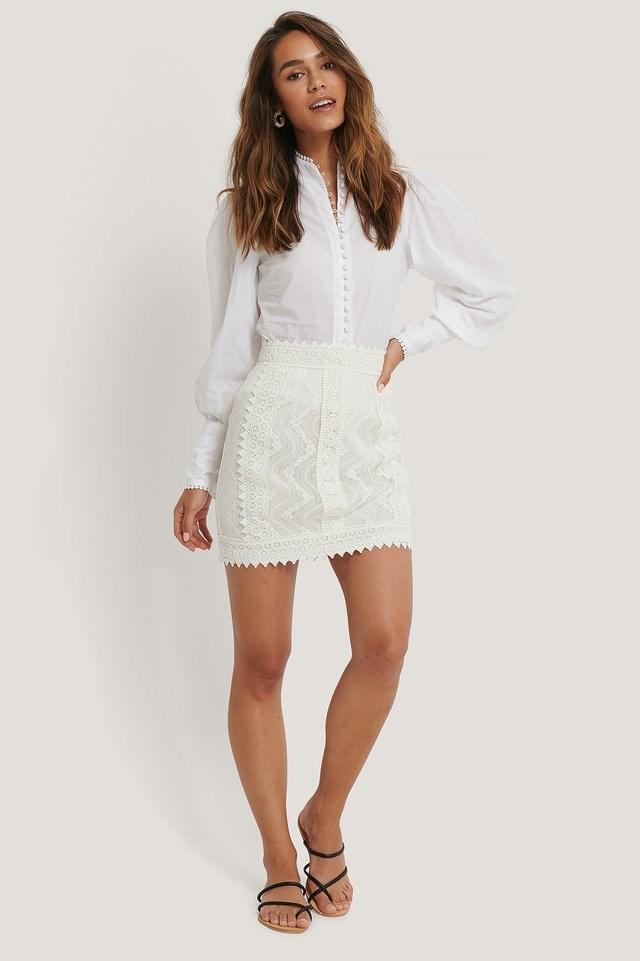 Lace Anglaise Mini Skirt
