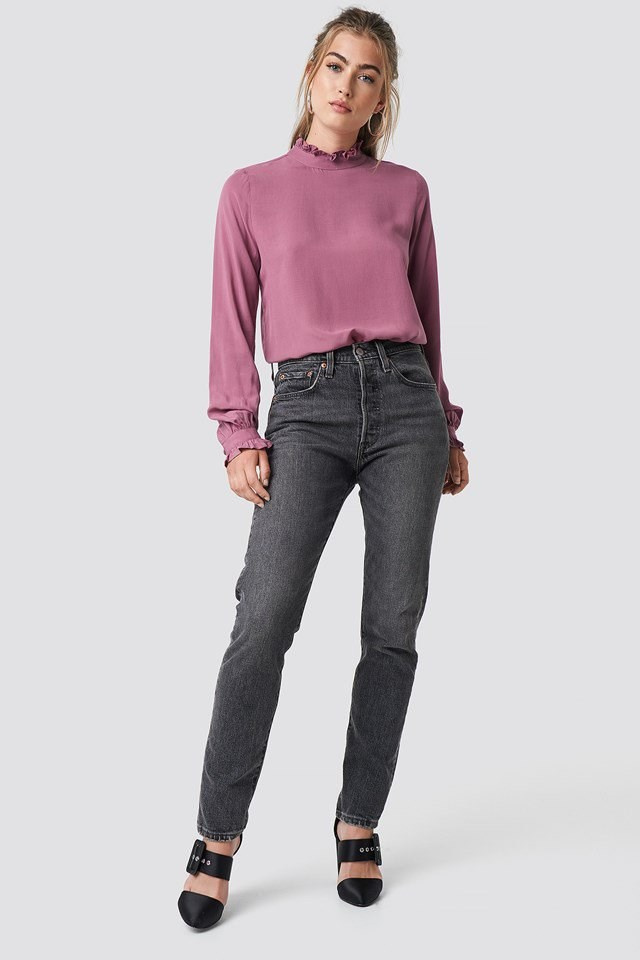 Long Sleeve Frill Blouse with Jeans