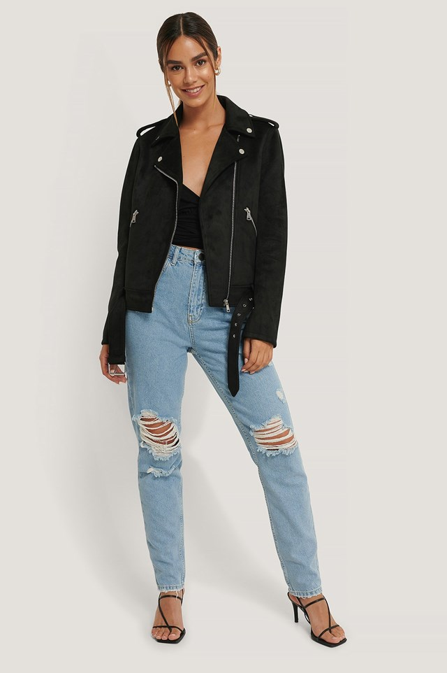Faux Suede Jacket Outfit