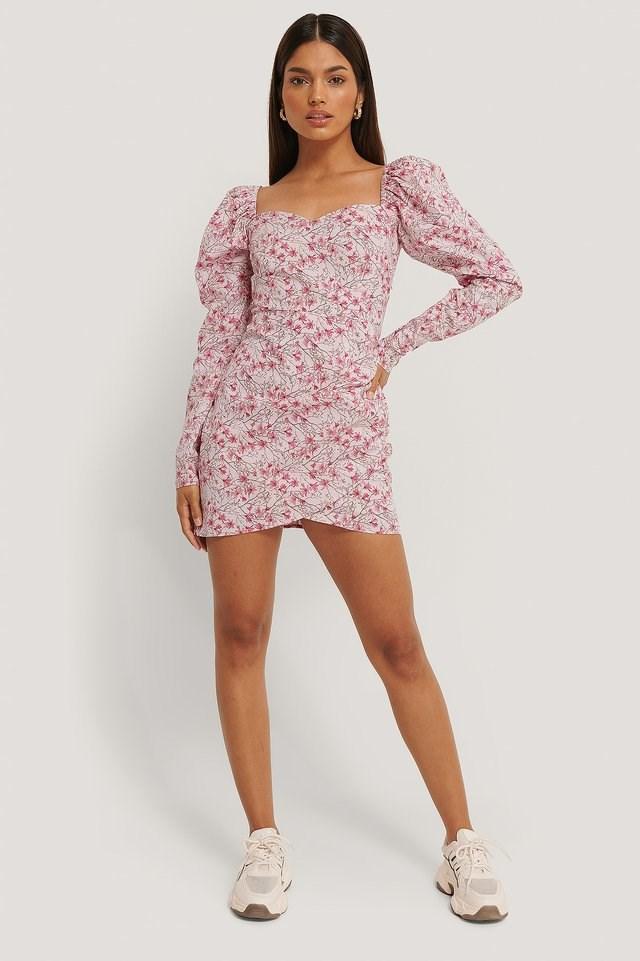 Volume Sleeve Wrap Mini Dress