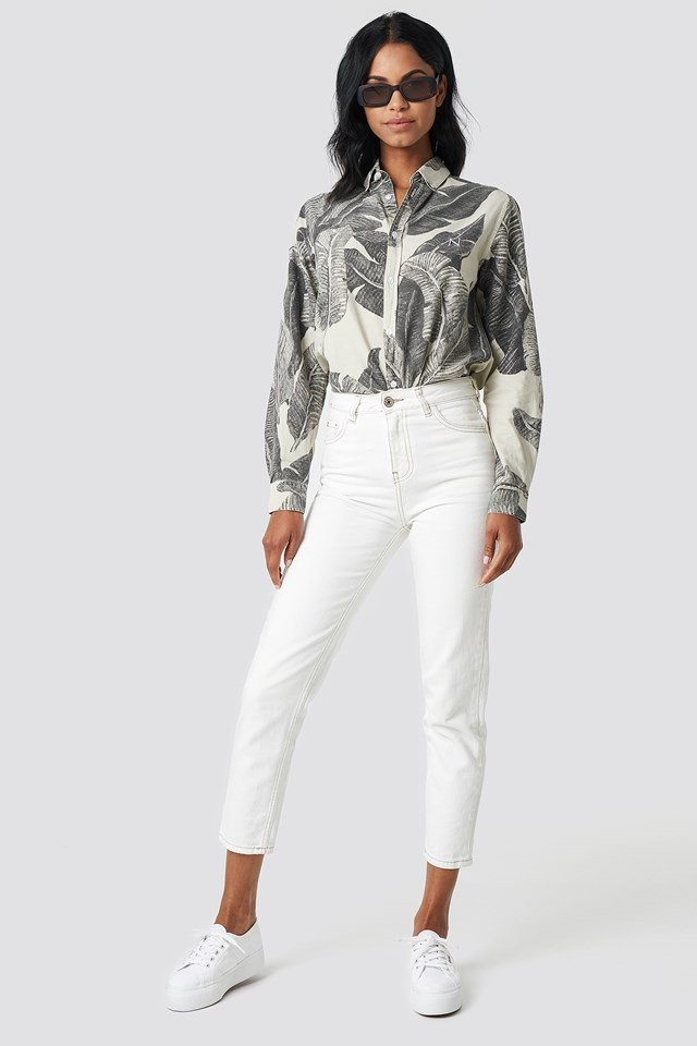 Floral Printed Shirt with White Trousers