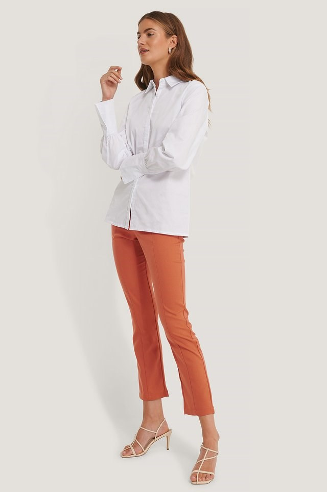 Long Cuff Poplin Shirt Outfit