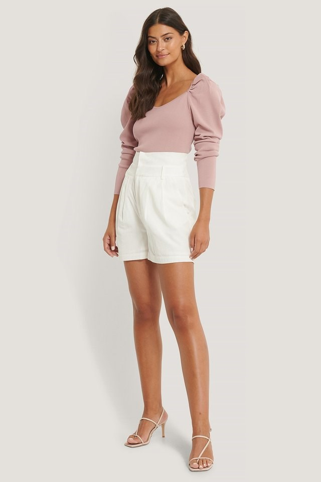 Light Knitted Puff Sleeve Sweater