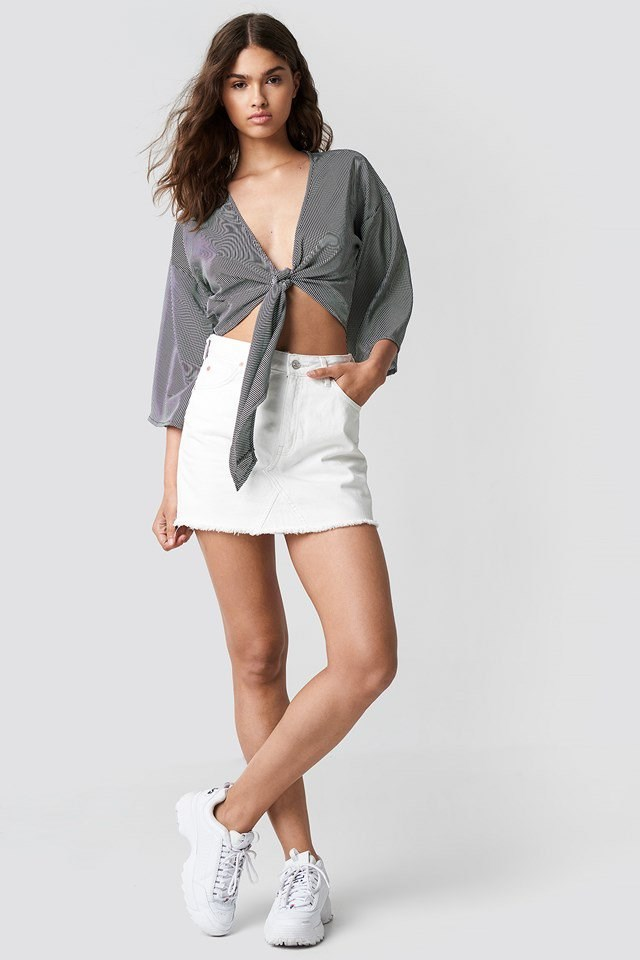Front Knot Blouse with Mini Skirt