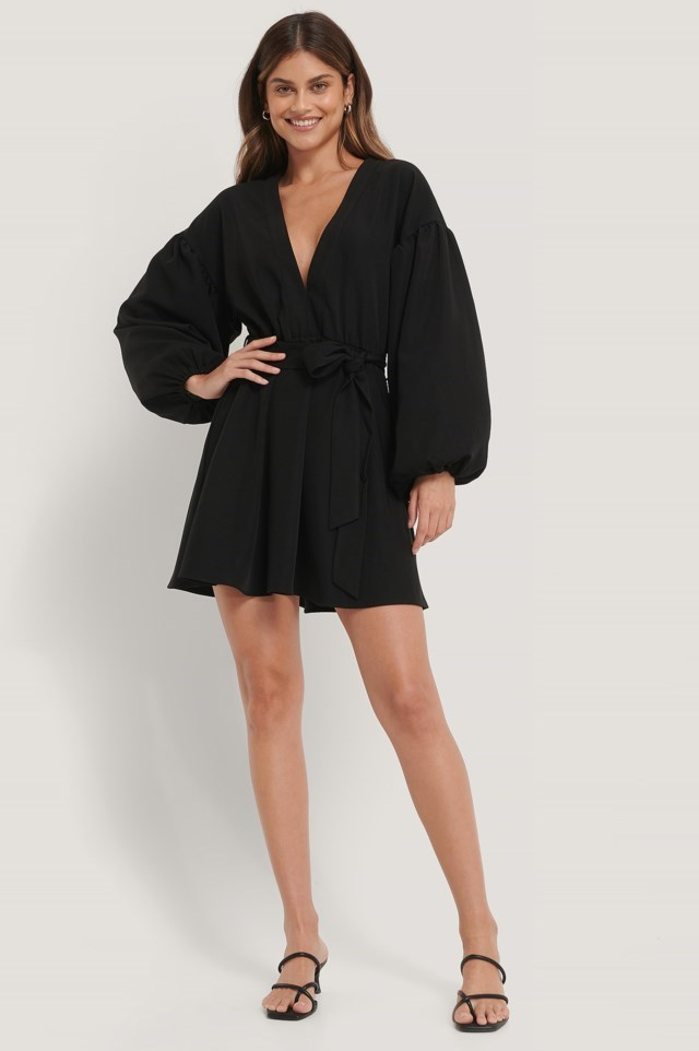 Black Shirred Overlap Dobby Dress