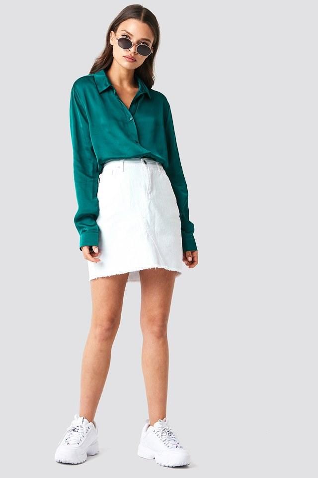 Smooth Satin Shirt with Mini Skirt