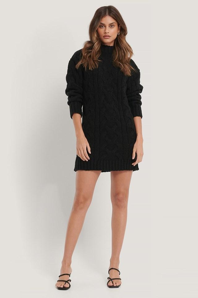 Pattern Knitted Sweater Dress