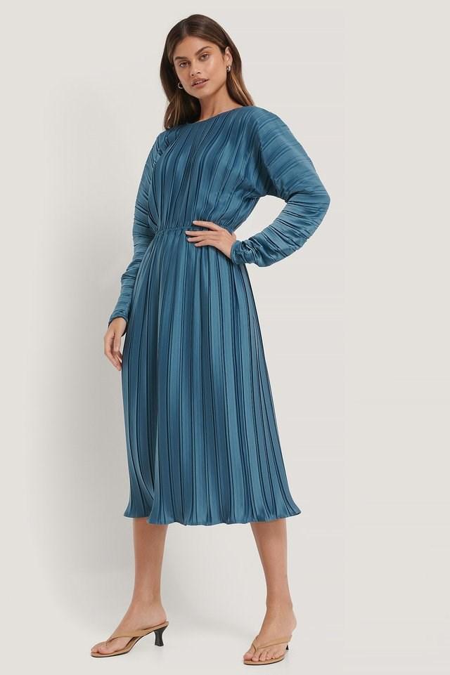 Pleated Deep Back Dress