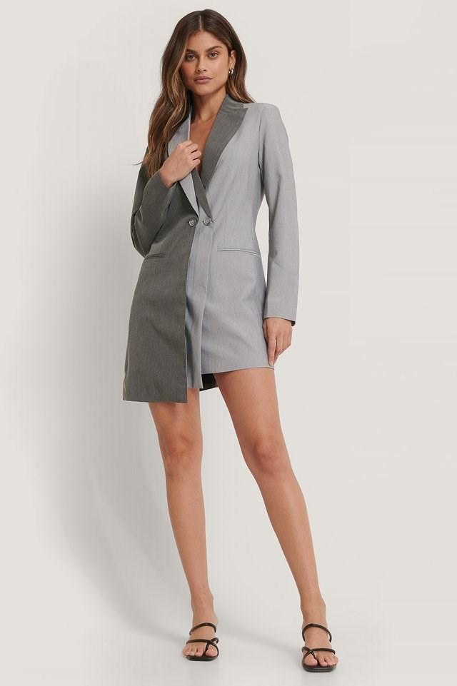 Grey Two Layered Blazer Dress