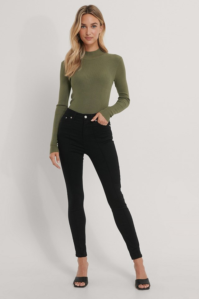 Front Seam Detail Jeans Outfit