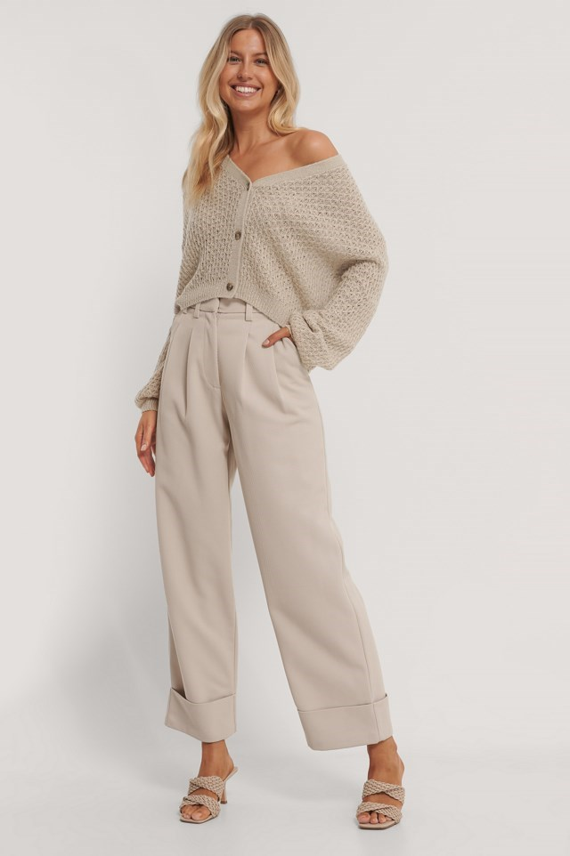 Dropped Shoulder Knitted Buttoned Cardigan