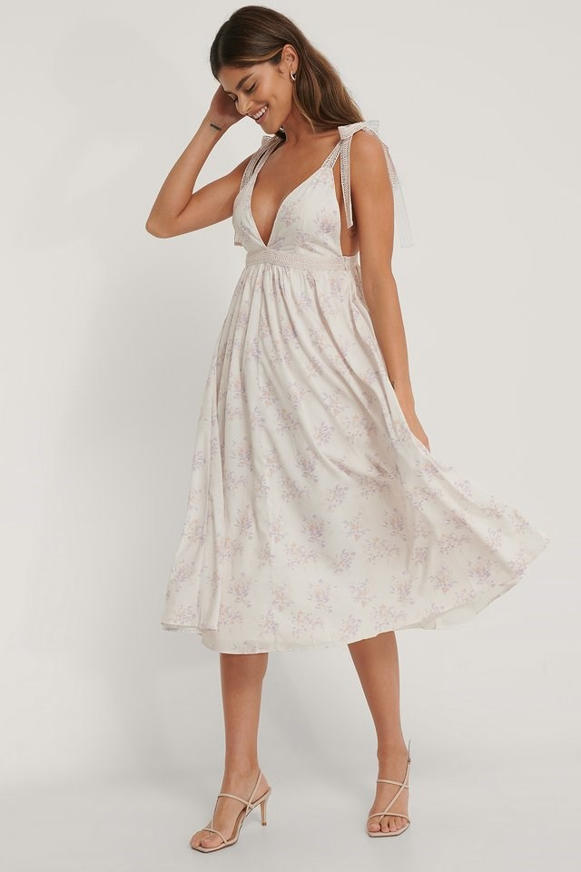 Lace Blocking Midi Dress