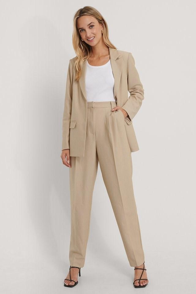Pleat Detail Suit Pants