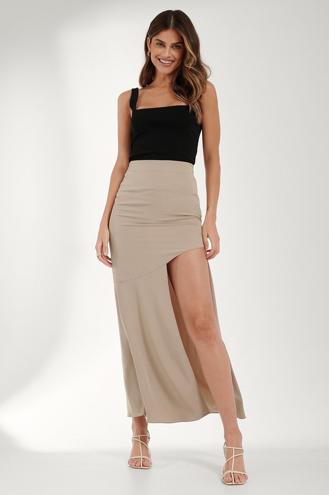 Beige Asymmetric Flowy Skirt