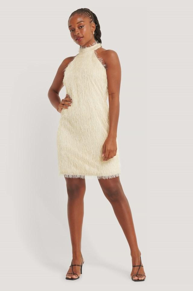 High Neck Fringe Mini Dress