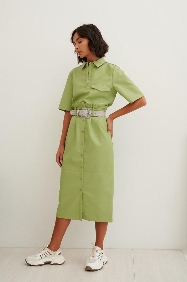 Green Paperwaist Pu Midi Skirt