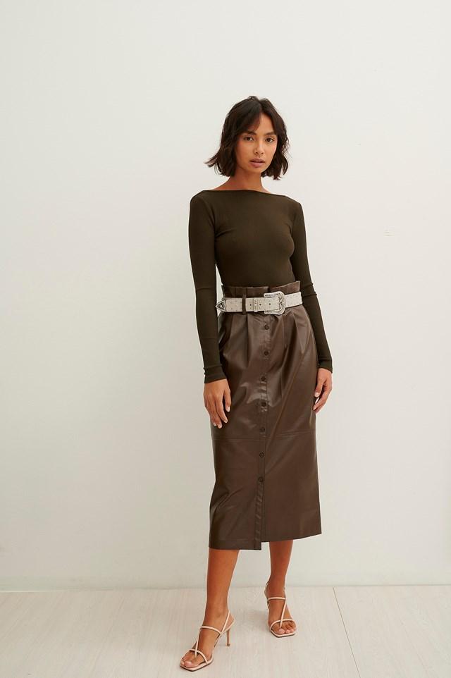 Paperwaist Pu Midi Skirt