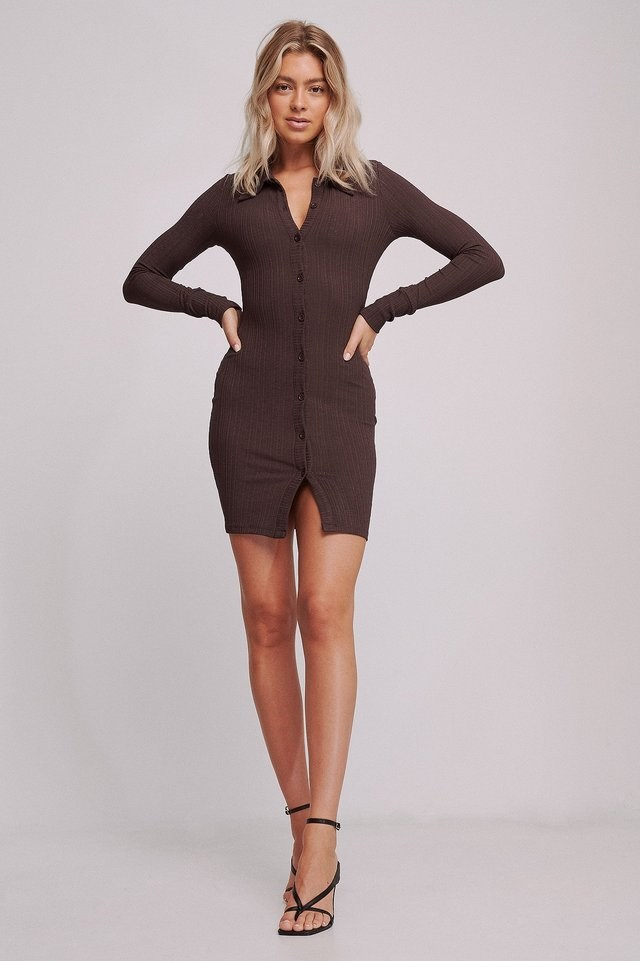 Ribbed Front Button dress