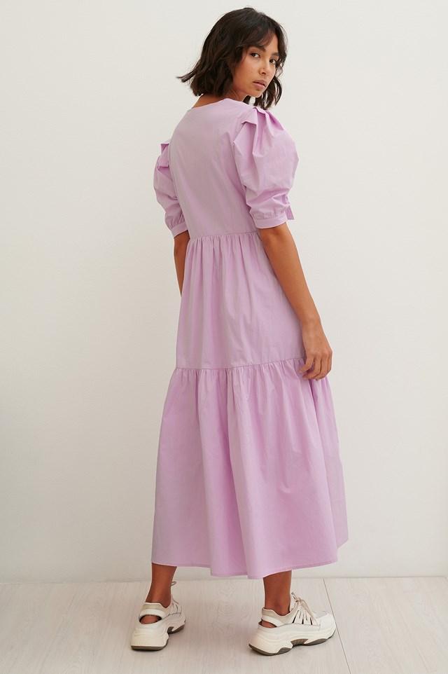 Pink Check Check Overlap Dress