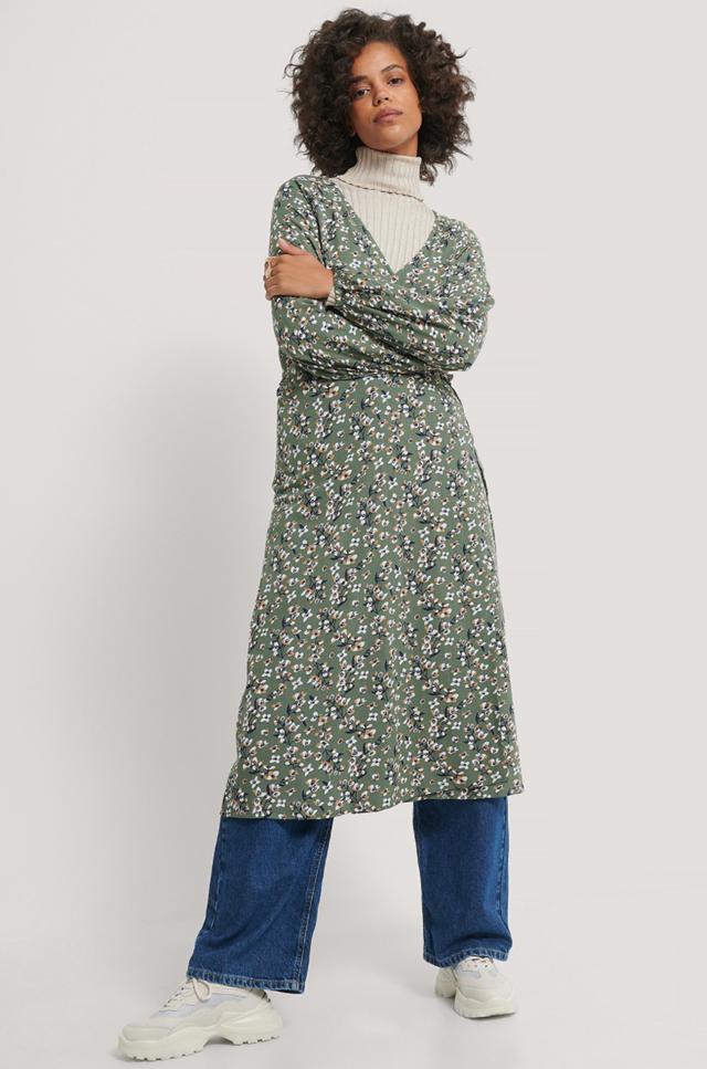 Tie Overlap Midi Dress