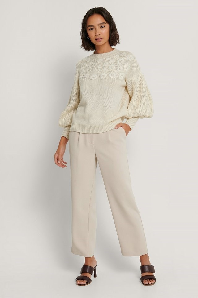 Flower Embroidered Balloon Sleeve Sweater
