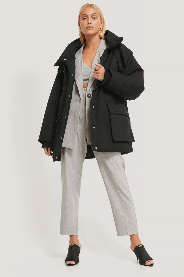 Removable Sleeves Belted Jacket