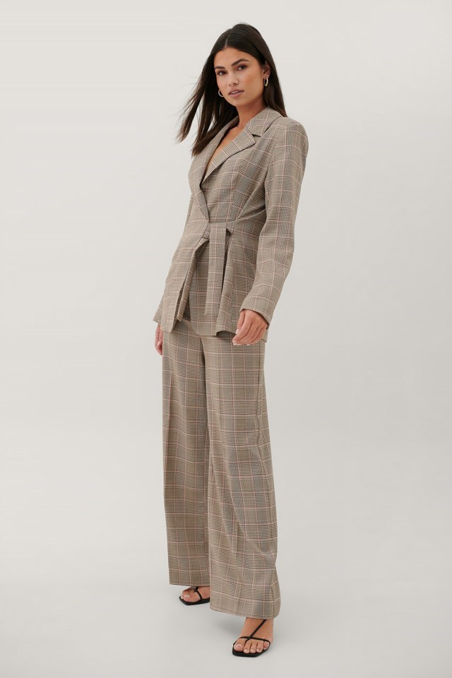 Tie Waist Checked Blazer
