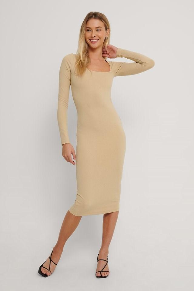 Cut Detail Long Sleeve Dress