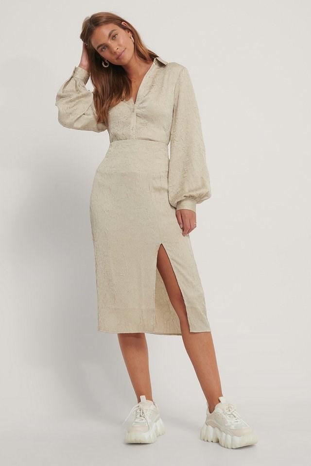 Side Slit Structured Skirt