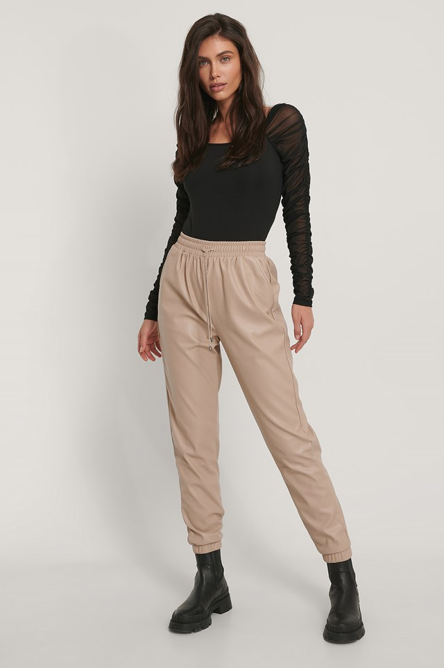 Puffy Sleeve Mesh Body and PU Pants